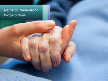 A young hand touches and holds an old wrinkled hand PowerPoint Template - Slide 1