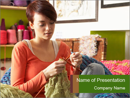 Young Woman Sitting In Chair Knitting PowerPoint Templates