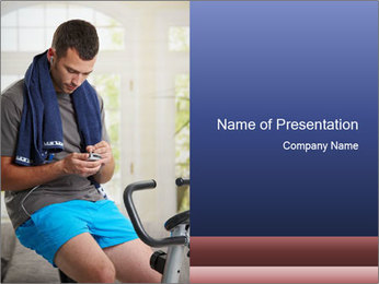 Man sitting on stationary bike PowerPoint Template - Slide 1