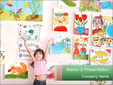 Child in art class PowerPoint Template