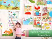 Child in art class PowerPoint Template