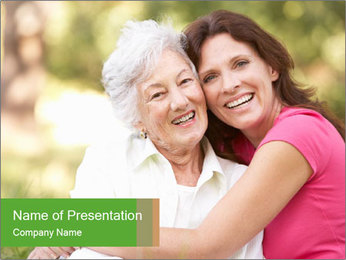 Senior Woman With Adult Daughter PowerPoint Template - Slide 1