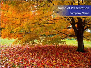 Fall leaves trees PowerPoint Templates - Slide 1