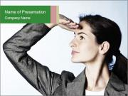 Businesswoman looking far ahead PowerPoint Template