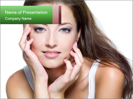 Face of a sexy beautiful young woman PowerPoint Templates