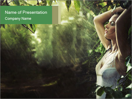 Sexy brunette in a rain forest PowerPoint Template