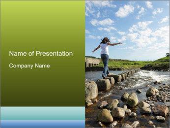 Girl runs across stepping stones PowerPoint Template - Slide 1