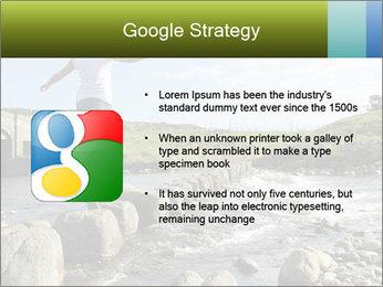 Girl runs across stepping stones PowerPoint Template - Slide 10