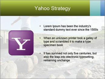 Girl runs across stepping stones PowerPoint Template - Slide 11