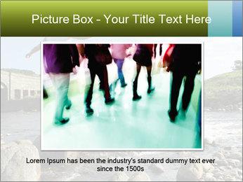Girl runs across stepping stones PowerPoint Template - Slide 16