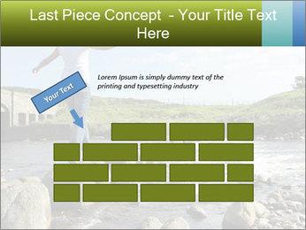 Girl runs across stepping stones PowerPoint Template - Slide 46