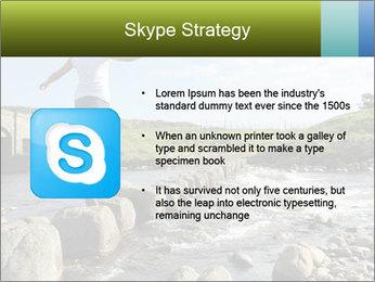 Girl runs across stepping stones PowerPoint Template - Slide 8