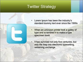 Girl runs across stepping stones PowerPoint Template - Slide 9