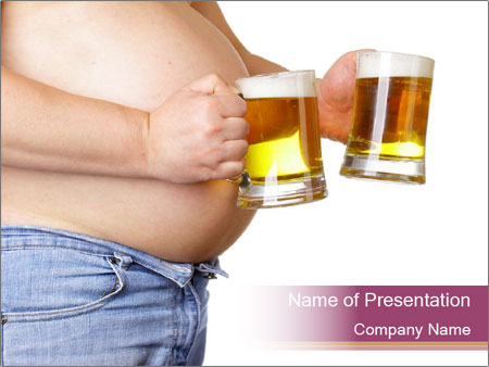 Man with two beer PowerPoint Template