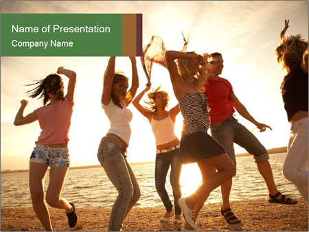 Group of happy young people PowerPoint Templates