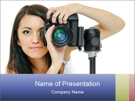 Beauty brunette with camera PowerPoint Templates