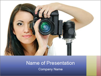 Beauty brunette with camera PowerPoint Templates - Slide 1