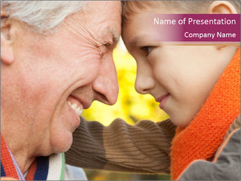 Grandfather keeps his grandson PowerPoint Template - Slide 1