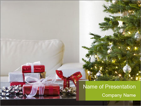 Red and white presents by christmas tree PowerPoint Templates