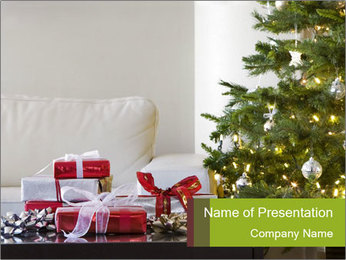 Red and white presents by christmas tree PowerPoint Templates - Slide 1