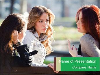 Girlfriends talking PowerPoint Template - Slide 1