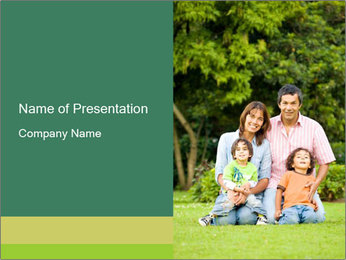 Happy family portrait PowerPoint Template - Slide 1