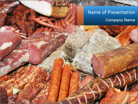 Selection of cold meat PowerPoint Template