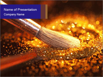 Close-up on brush and shining powder PowerPoint Template - Slide 1