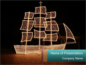 Christmas ship at night PowerPoint Template