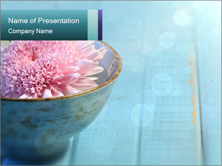Flower floating in bowl of water PowerPoint Template