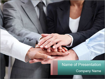 Business people hands PowerPoint Template - Slide 1