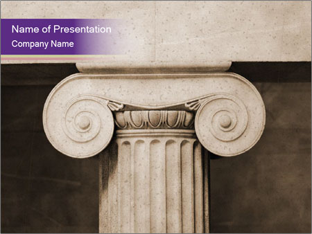 Ionic pillar in vintage sepia PowerPoint Template