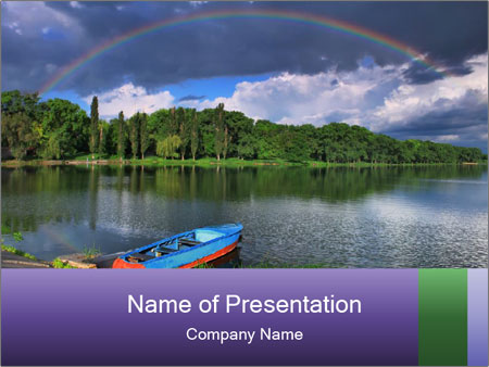 Rainbow over the lake PowerPoint Template