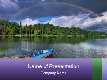 Rainbow over the lake PowerPoint Template - Slide 1