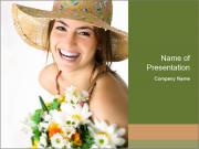 Woman with bouquet PowerPoint Template