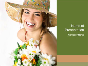 Woman with bouquet PowerPoint Templates - Slide 1