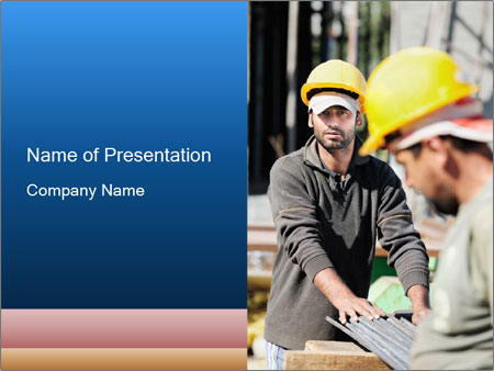 Two authentic construction workers PowerPoint Template