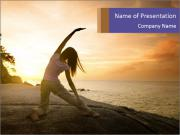 Asian girl posing yoga PowerPoint Templates