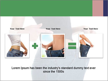 Young female shows her old huge pair of jeans PowerPoint Templates - Slide 22