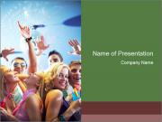 Cheerful friends dancing PowerPoint Template