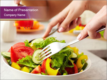 Tasting salad PowerPoint Template - Slide 1