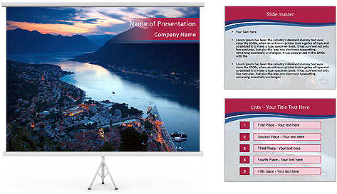 Night view of Montenegro PowerPoint Template