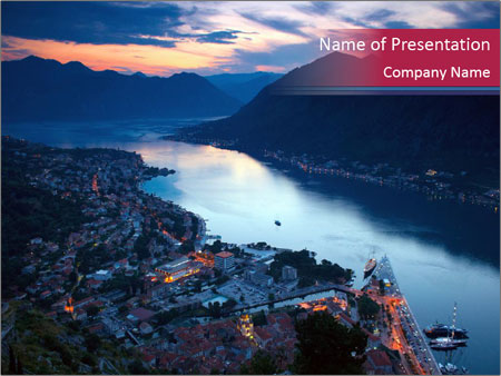 Night view of Montenegro PowerPoint Templates