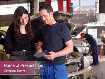 Mechanic and woman PowerPoint Template - Slide 1