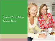 Women chatting over coffee at home PowerPoint Template