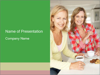Women chatting over coffee at home PowerPoint Templates - Slide 1