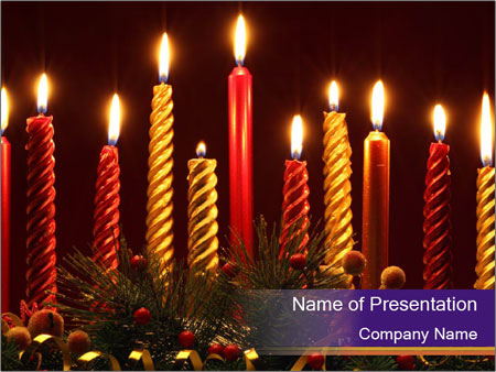 Christmas candles PowerPoint Templates