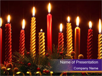 Christmas candles PowerPoint Template - Slide 1