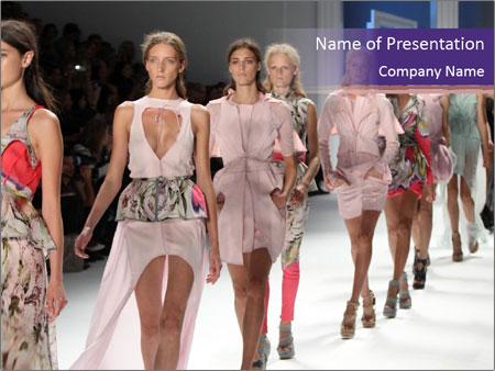 Models walk the runway PowerPoint Template