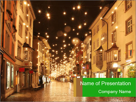 Street in a Christmas night PowerPoint Template